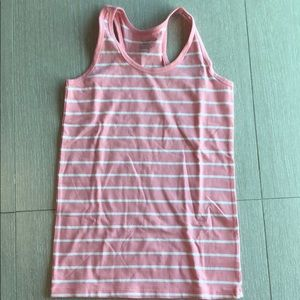 A white and pink striped girls tank top.
